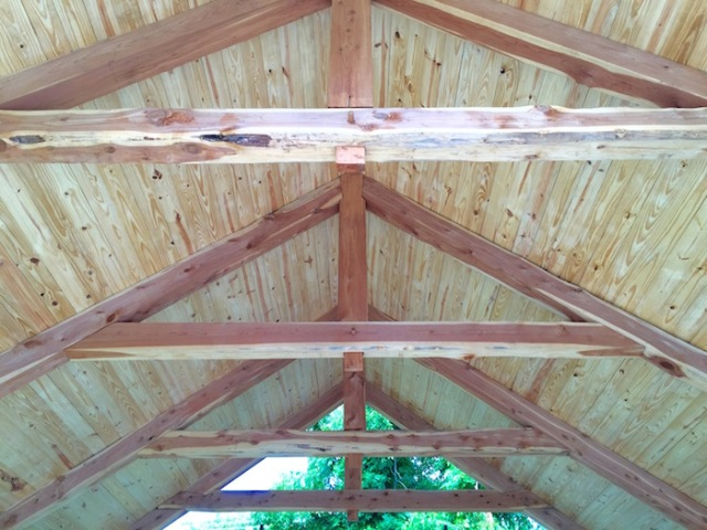 A view of the ceiling in a timber framed home